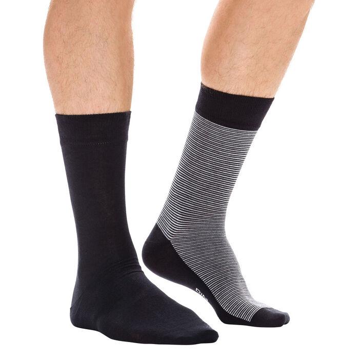 Lot de 2 paires de chaussettes grises à rayures fines Homme-DIM
