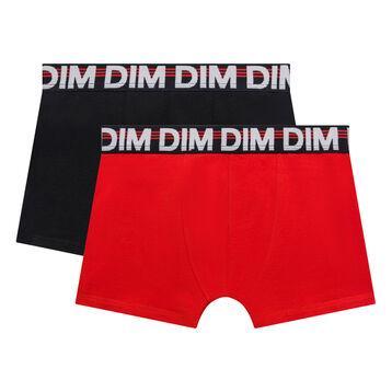 Pack de 2 bóxers niño de algodón negro y rojo - Eco Dim, , DIM