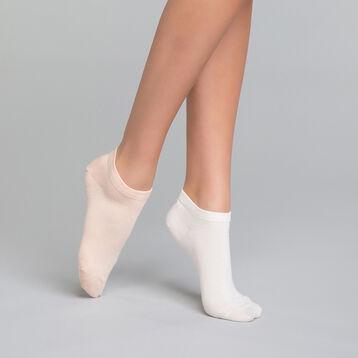 Pack de 2 pares de calcetines bajos de algodón blancos y rosa melocotón - Dim Basic Coton, , DIM