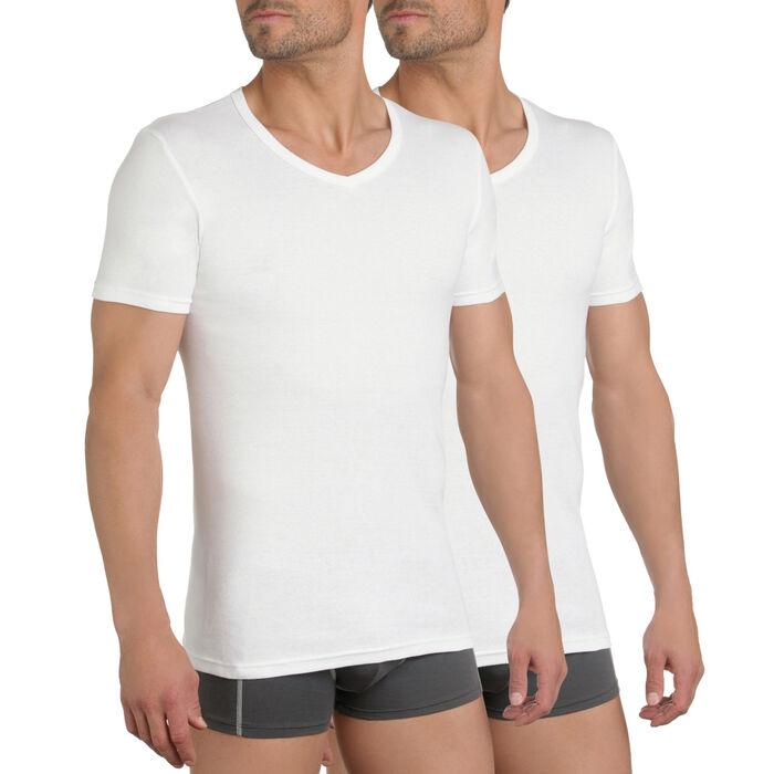 Pack de 2 camisetas blancas cuello pico 100% algodón EcoDIM, , DIM
