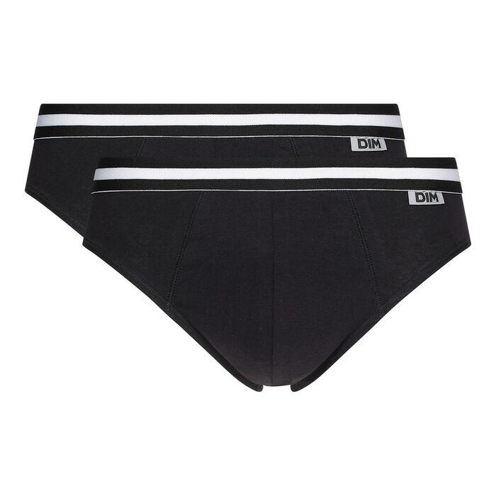 Pack de 2 slips negros de algodón elástico EcoDIM, , DIM