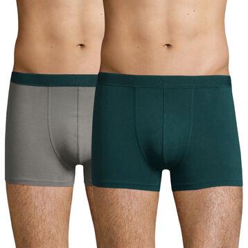 Pack de 2 bóxers de algodón elástico gris y verde Soft Power, , DIM