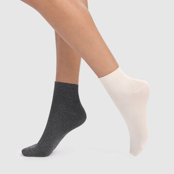 Pack de 2 pares de calcetines de microfibra brillante marfil y gris Dim Skin, , DIM