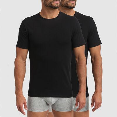 Pack de 2 camisetas negras de cuello redondo termorregulación activa XTemp Dim, , DIM