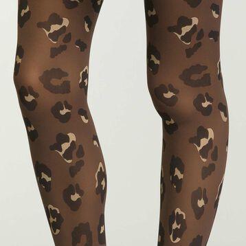 Panti negro para mujer estampado de leopardo de terciopelo, , DIM