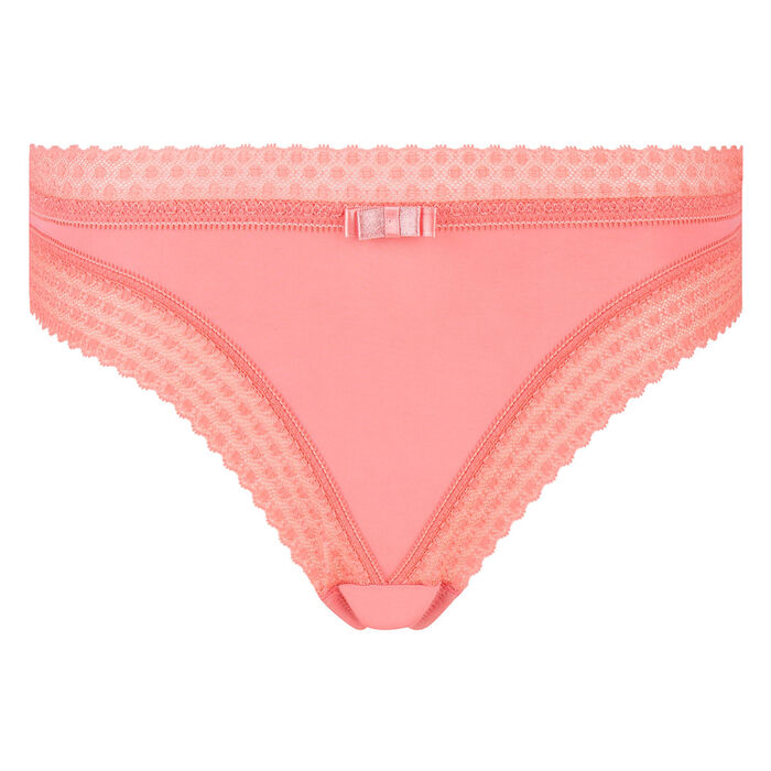 Braguita de microfibra y encaje rosa coral Trendy Micro de Dim, , DIM