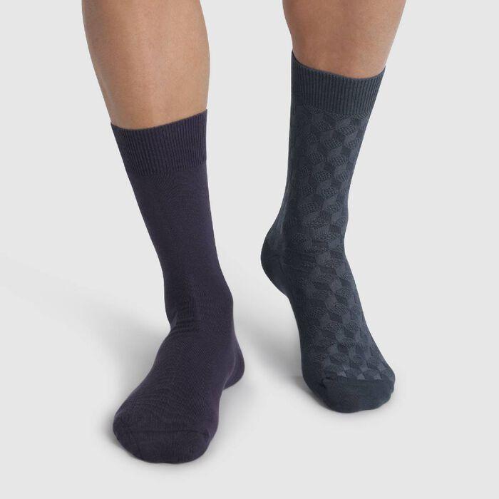 Pack de 2 pares de calcetines azules de caña media hombre Coton Style, , DIM