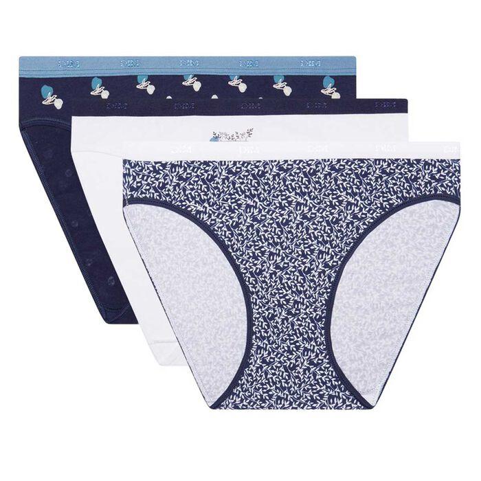 Pack de 3 braguitas de algodón elástico estampado Laponia Les Pockets Coton, , DIM