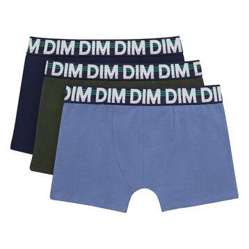 Pack de 3 boxers para niño azules y verde de algodón elástico, , DIM