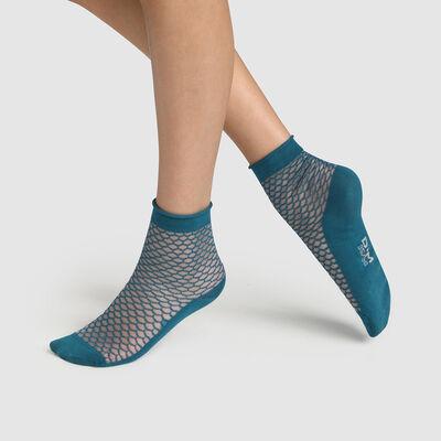 Calcetines bajos para mujer de algodón estampado escamas transparentes azul Made in France, , DIM