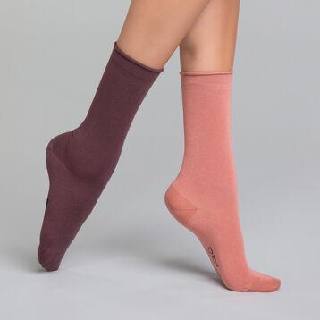 Pack de 2 pares de calcetines Mujer rosa y burdeos - Modal, , DIM