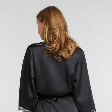 Bata de casa negra satén con encaje - Glamour, , DIM