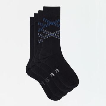 Pack de 2 pares de calcetines de algodón hombre estampado de líneas negro Coton Style, , DIM