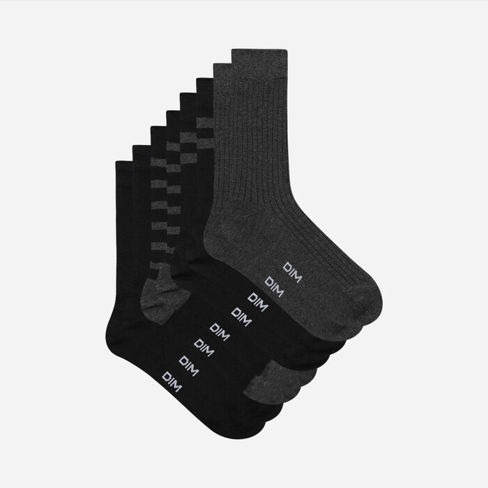 Pack de 4 pares de calcetines de caña media negros y grises para hombre Eco Dim, , DIM