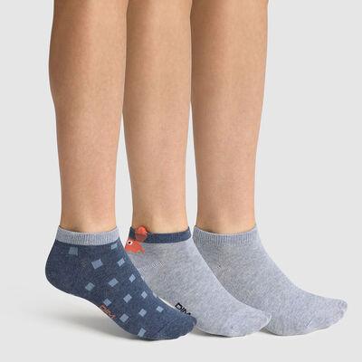 Pack de 3 pares de calcetines bajos para niño estampado cangrejo azul Coton Style, , DIM