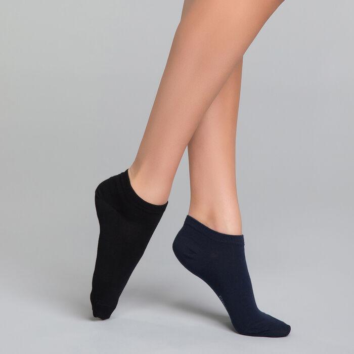 Pack de 2 calcetines bajos negros y azules marino de algodón - Dim Basic Coton, , DIM