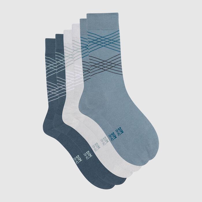 Pack de 3 pares de calcetines para hombre tartán gris y azul Coton Style, , DIM