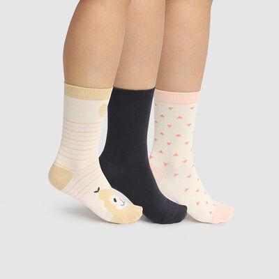 Pack de 3 pares de calcetines de algodón ardilla marfil Kids Coton Style, , DIM