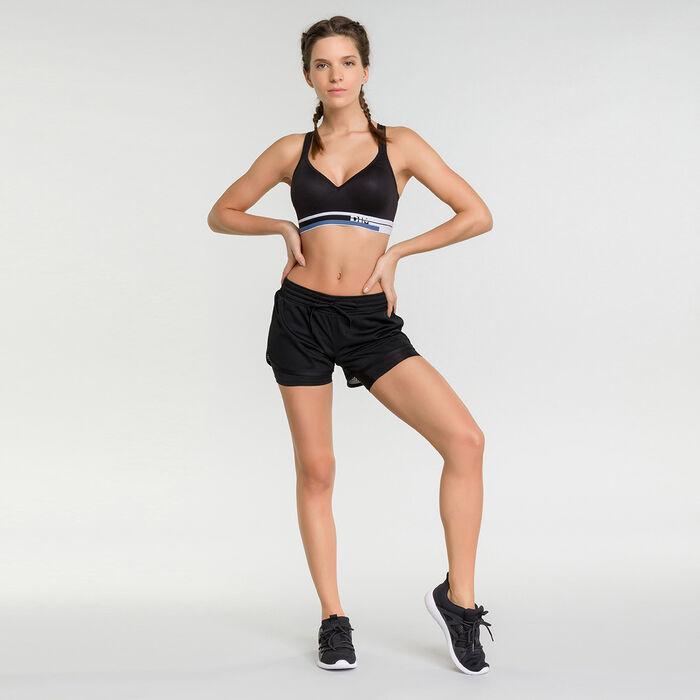 Pantalón corto deportivo mujer 2 en 1 impacto elevado negro - Dim Sport, , DIM