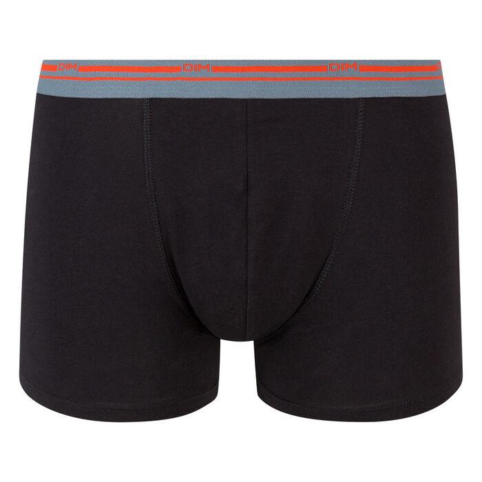 Bóxer negro de algodón elástico con cintura contrastada Classic Colors, , DIM