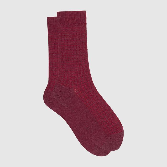 Calcetines para hombre de lana y algodón estampado cuadros burdeos Dim Laine, , DIM