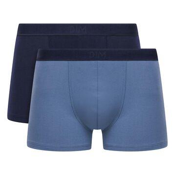 Pack de 2 bóxers de algodón elástico azul oscuro y azul denim Soft Power , , DIM