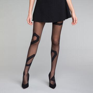 Panti fantasía negro con motivos asimétricos 20D - Dim Style, , DIM