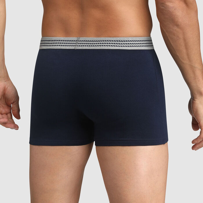 Bóxer para hombre de algodón elástico azul con cintura gris Dim Élégant, , DIM
