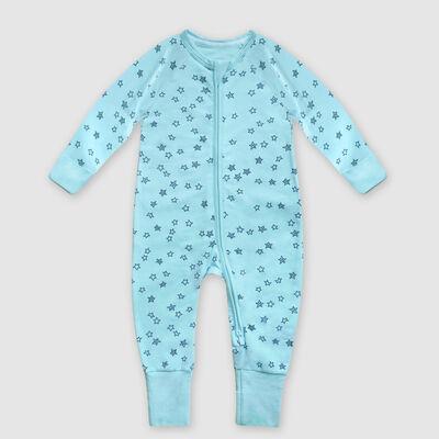 Pijama para bebé con cremallera de algodón elástico azul claro estampado lluvia de estrellas Dim, , DIM