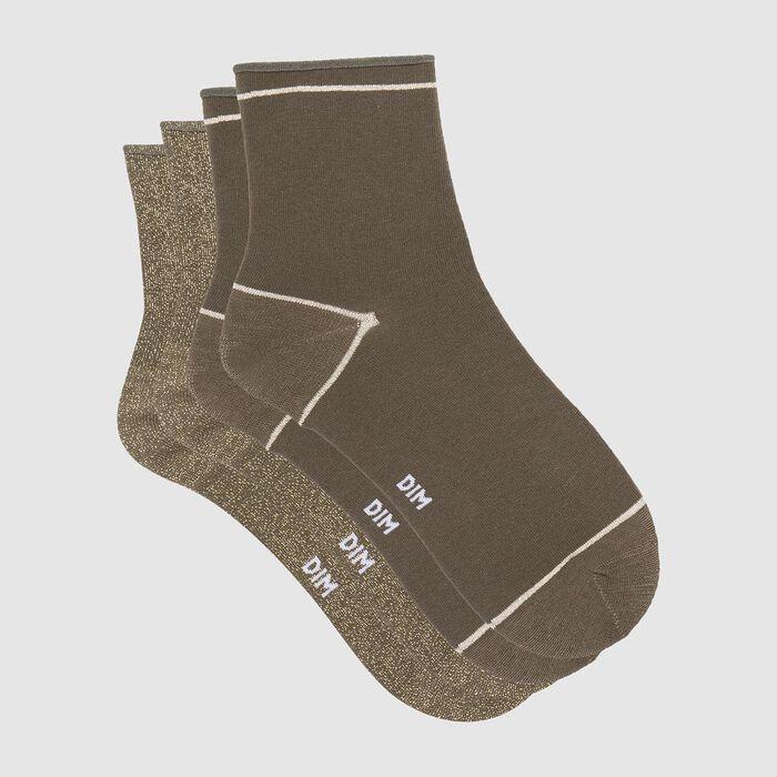Pack de 2 pares de calcetines bajos caqui de algodón y lurex dorado Coton Style, , DIM