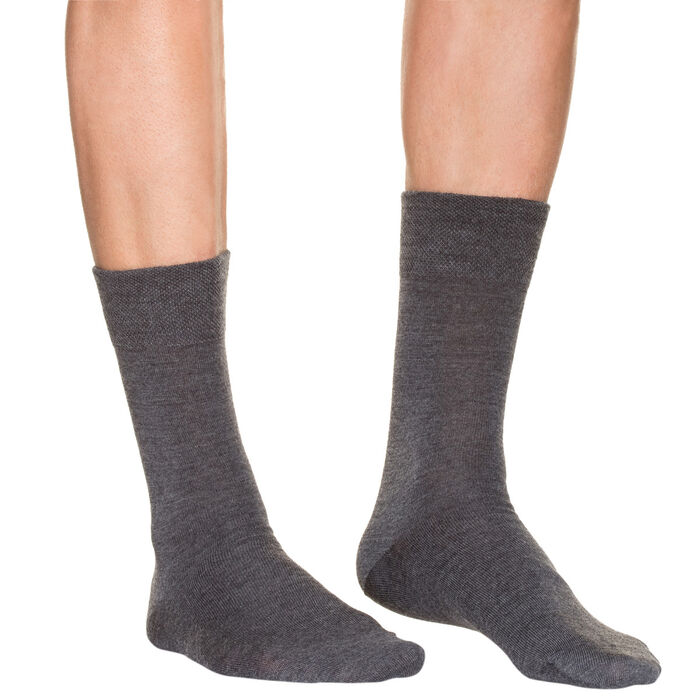 Calcetines de media pantorrilla color antracita de lana para hombre, , DIM