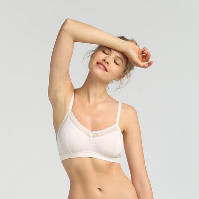 Dim Cotton Lace pearl cotton wireless triangle bra, , DIM
