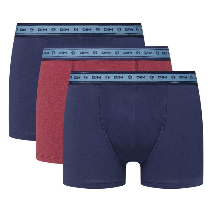 Pack de 3 bóxers de algodón elástico azul y rojo Green by Dim, , DIM