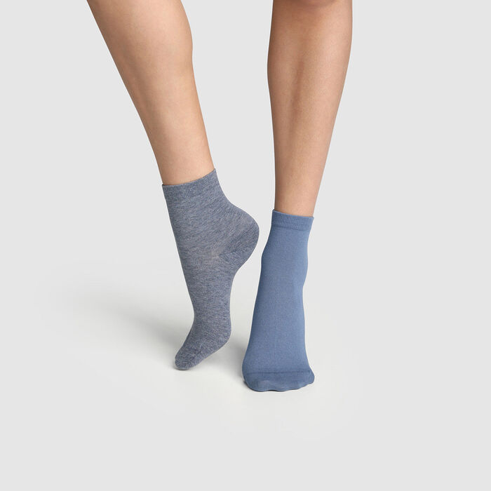 Pack de 2 pares de calcetines azul noche para mujer Basic Coton, , DIM
