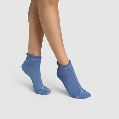 Calcetines bajos para mujer hilo de Escocia con un volante en el borde azul Dim Made in France, , DIM