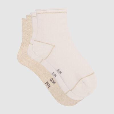 Pack de 2 pares de calcetines bajos marfil de algodón y lurex dorado Coton Style, , DIM
