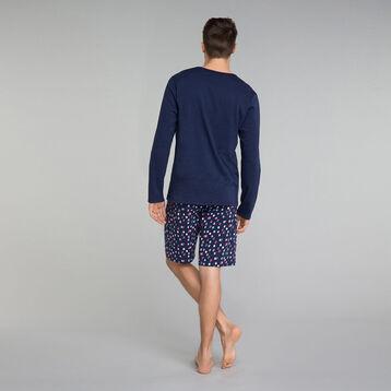 Camiseta de pijama de manga larga azul marino con bolsillo estampado - Fashion, , DIM