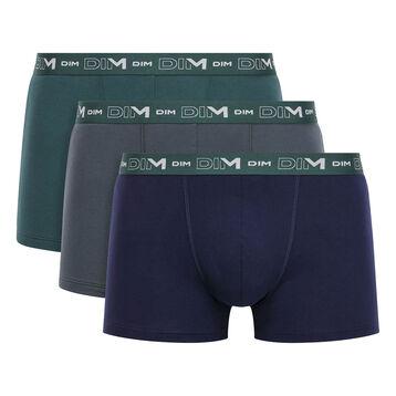 Pack de 3 bóxers verde, granito y azul de algodón elástico Coton Stretch, , DIM