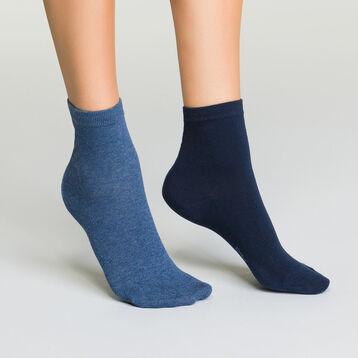 Pack de calcetines bajos azul marino y azul jean para mujer Basic Coton, , DIM