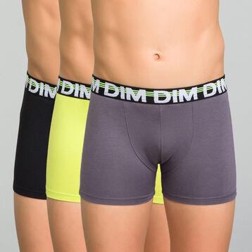 Pack de 3 bóxers de algodón niño negro, amarillo y gris - Trio Dim, , DIM