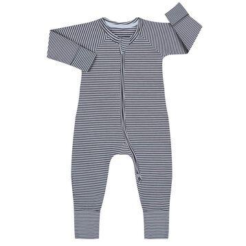 Pijama con cremallera de algodón elástico de rayas grises y blancas, , DIM