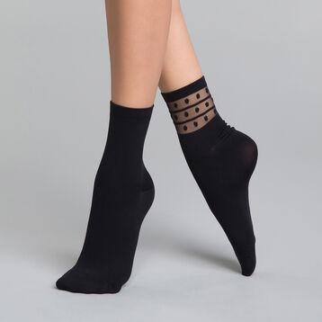 Pack de 2 pares de calcetines de mujer negros con detalles de topos - Dim Skin Fancy, , DIM