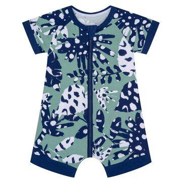 Pijama de manga corta con cremallera de algodón elástico verde con estampado Tropical, , DIM