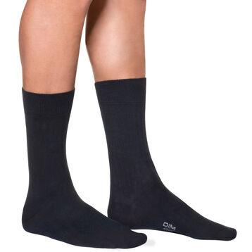 Calcetines de media pantorrilla acanalados en azul oscuro para hombre, , DIM