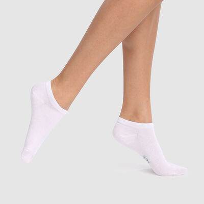 Pack de 2 pares de calcetines tobilleros blancos de algodón lyocell biodegradable Green, , DIM