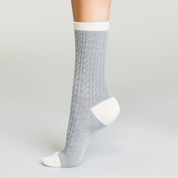 Calcetines de lana para mujer grises y marfil, , DIM