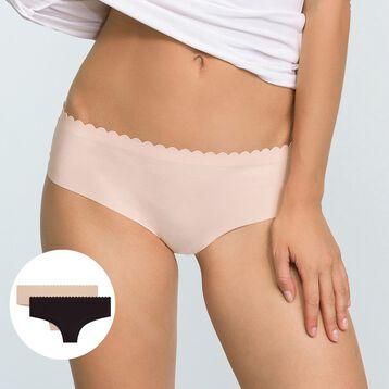 Pack de 2 Hipsters de microfibra violeta y carne Body Touch , , DIM