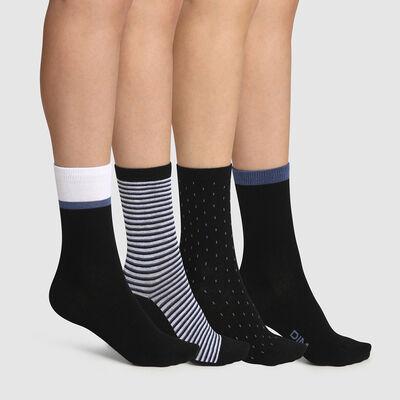 Pack de 4 pares de calcetines para mujer de rayas y lunares negro EcoDim Style, , DIM