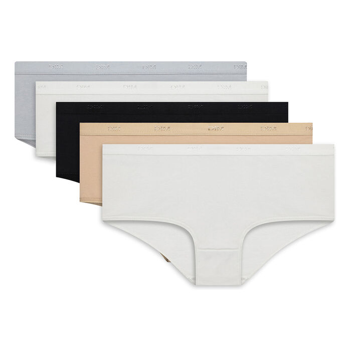 Pack de 5 culottes de algodón elástico Les Pockets Ecodim, , DIM