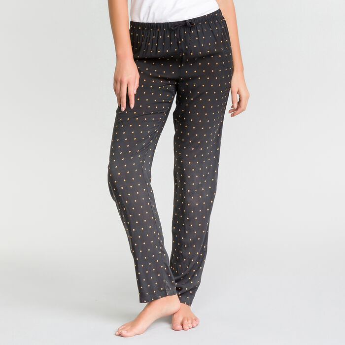 Pantalón largo de pijama negro estampado plumetis blanco - Fashion, , DIM
